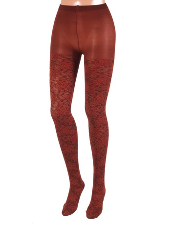 Bonnie Doon Layered Lace Tights hazelnut