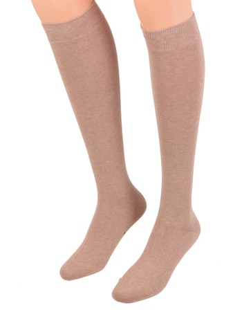 Bonnie Doon Cotton Knee High Socks taupe heather