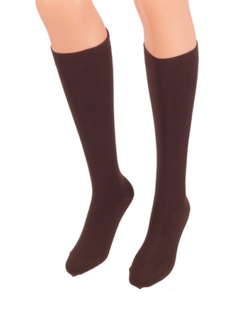 Bonnie Doon Cotton Knee High Socks dark brown