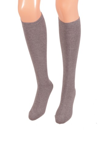 Bonnie Doon Cotton Knee High Socks medium grey heather