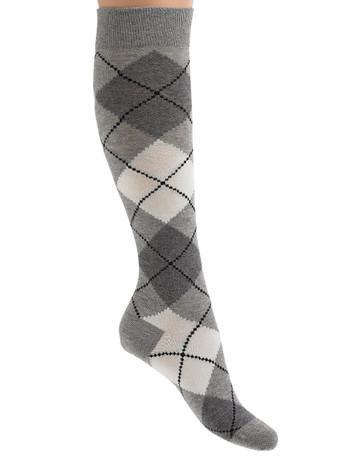 Bonnie Doon Argyle Knee High Socks light grey heather