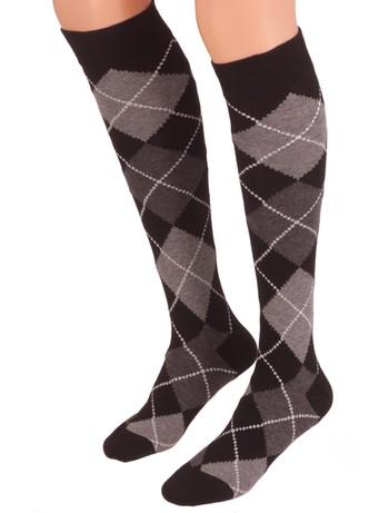 Bonnie Doon Argyle Knee High Socks black