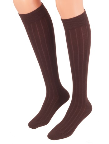 Bonnie Doon 7x1 Ribbed Knee High Socks dark brown