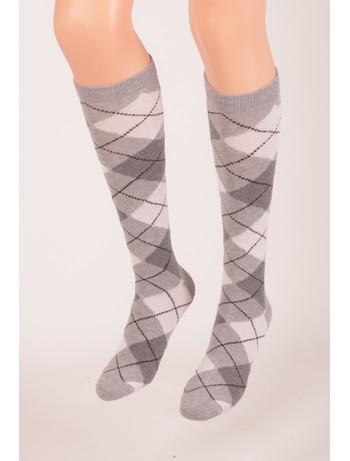 Bonnie Doon Argyle Knee High Socks for Children light grey heather