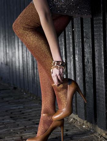 Bonnie Doon Cotton/Lurex Tights cabernet