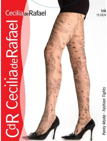 Cecilia de Rafael Ink tights 15DEN with Allover-Tattoo-Pattern