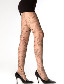 Cecilia de Rafael Ink tights 15DEN with Allover-Tattoo-Pattern
