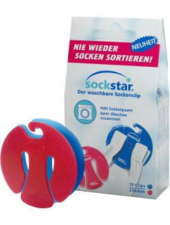 Sockstar Sock Clips: Blue and Red
