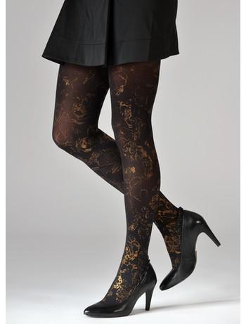 Dolci Calze Laminado print tights black