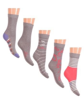 Esprit School Fun Kid's Socks 5-Pack lightgray tinged