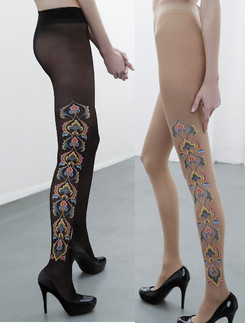 Emilio Cavallini Exotic Floral Print Tights