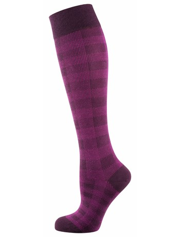 Elbeo Wilma patterend cotton knee highs berry