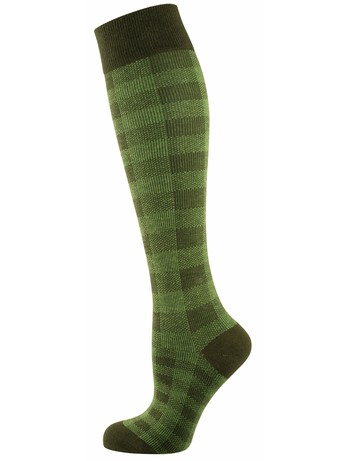 Elbeo Wilma patterend cotton knee highs green