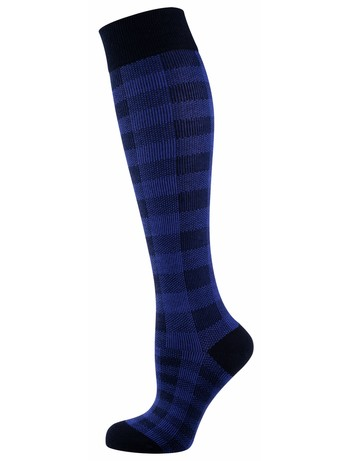 Elbeo Wilma patterend cotton knee highs nightblue