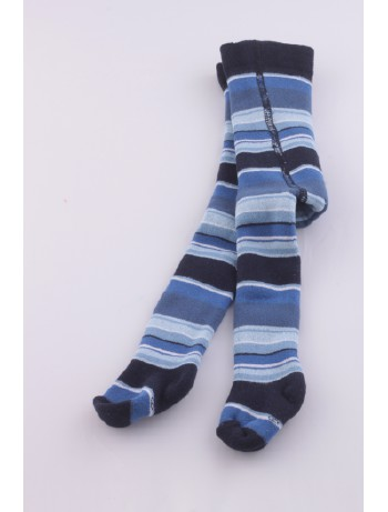Ewers Baby Striped Plush Fleece-Lined Tights navy
