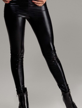 Forplay Metallic Liquid Wet Look Leggings black
