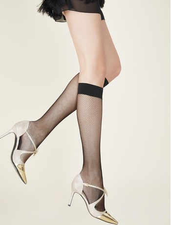 Gerbe MiBas Resille Fishnet Knee High Socks black