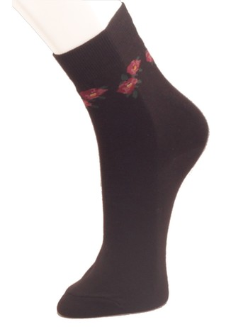 Giulia Cotton Socks with Floral Pattern nero