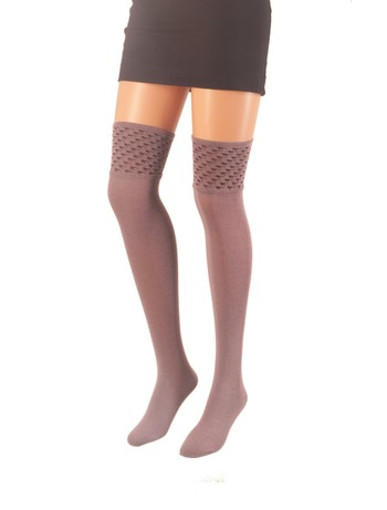 Giulia Over the Knee Socks with Patterned Top lilac