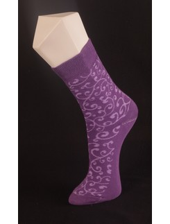 Giulia Violet Patterned Cotton Socks
