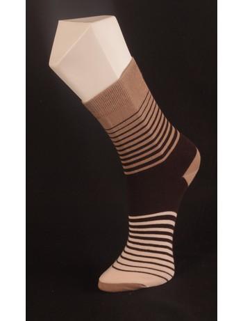 Giulia Brown Striped Socks beige