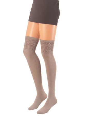 Giulia Over the Knee Socks with Textured Tops sand