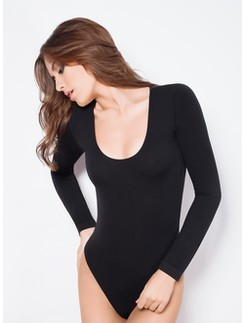 Giulia  Ampia long Sleeve Microfiber Bodysuit with low-cut Round