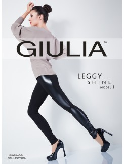 Giula Leggy Shine Model 1 Leggings with Faux Leather Details