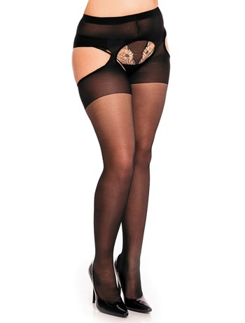Glamory Plaisir Ouvert 20 Suspender Tights black