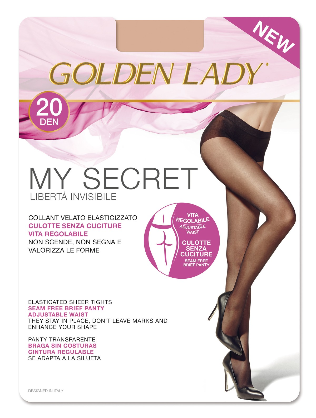 22b78da4b Golden Lady My Secret 20 Seamless sheer tights 20DEN