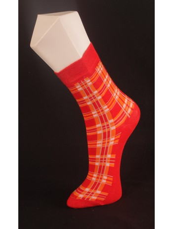 Giulia Red Checkered Cotton Blend Socks rosso