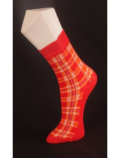 Giulia Red Checkered Cotton Blend Socks