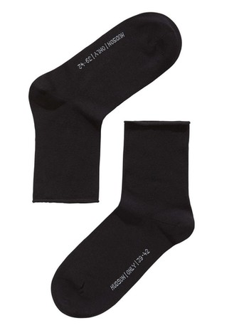 Hudson Only Socks with Roll-Up Border black