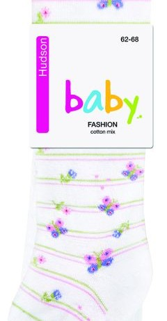Hudson Springtime Striped Baby Tights white