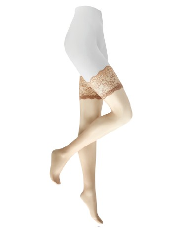 Kunert Satin Look 20 Stockings with Lace Tops cashmere