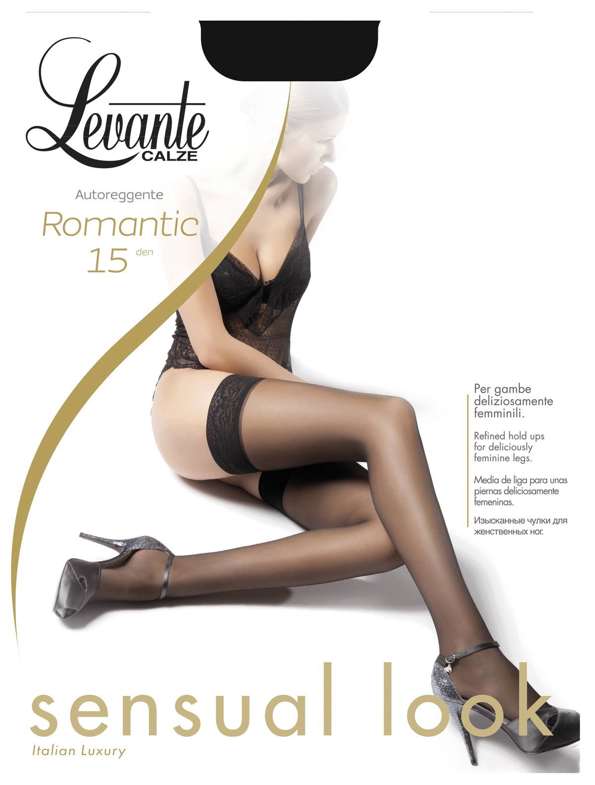 Levante Romantic 15 Silky Soft Lace Top Stay Up Stockings Hold Ups White Small