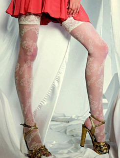 Levante Styling  floral patterned Tulle Hold ups