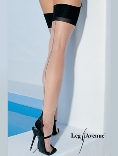 Leg Avenue Strap-on Stockings with Backseam and Cuban Heel