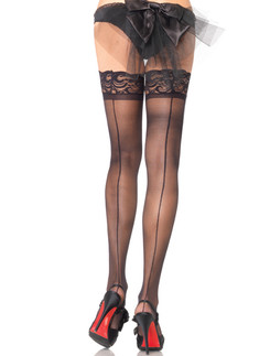 Leg Avenue sheer Lace Top Backseam Thigh Highs