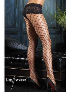 Leg Avenue net pantyhose with lace boy short