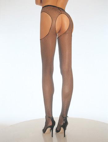 Leg Avenue Crotchless Fishnet Tights black