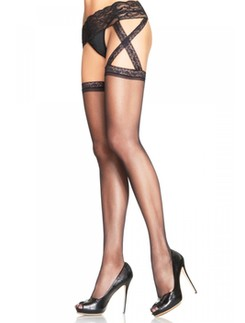 Leg Avenue Lace Top Stockings Criss Cross Lace Garterbelt