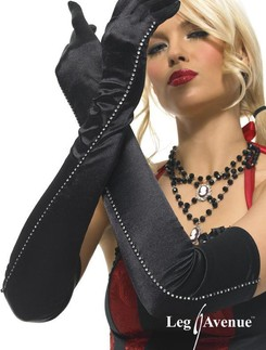 Leg Avenue Opera Length Satin Gloves with Rhinstone Trim