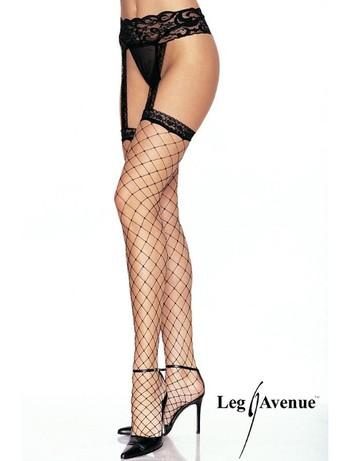 Leg Avenue Fishnet Stockings with Lace Garterbelt black
