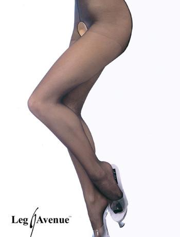 Leg Avenue Sheer Crotchless Pantyhose black