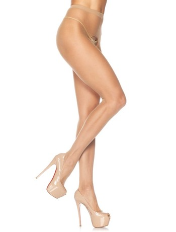 Leg Avenue 20 Sheer Crotchless Tights nude