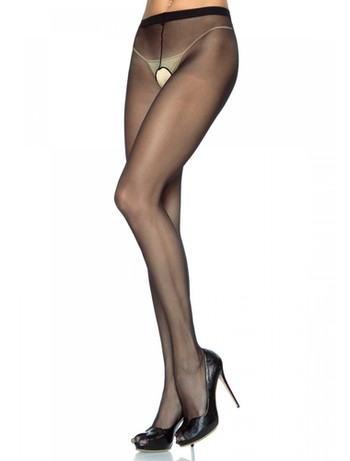 Leg Avenue 20 Sheer Crotchless Tights black