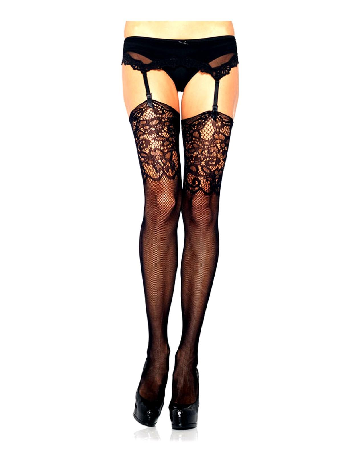 c7ce1c8dc7b Leg Avenue Jacquard Lace Fishnet Stockings
