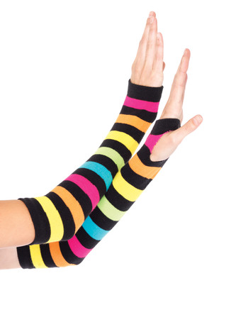 Leg Avenue Neon Rainbow Gauntlet Gloves multicolor