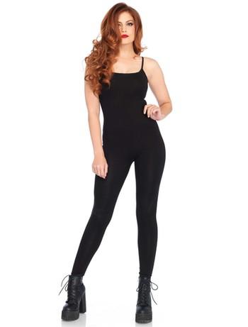 Leg Avenue Basic Unitard skintight suit with spaghetti straps black